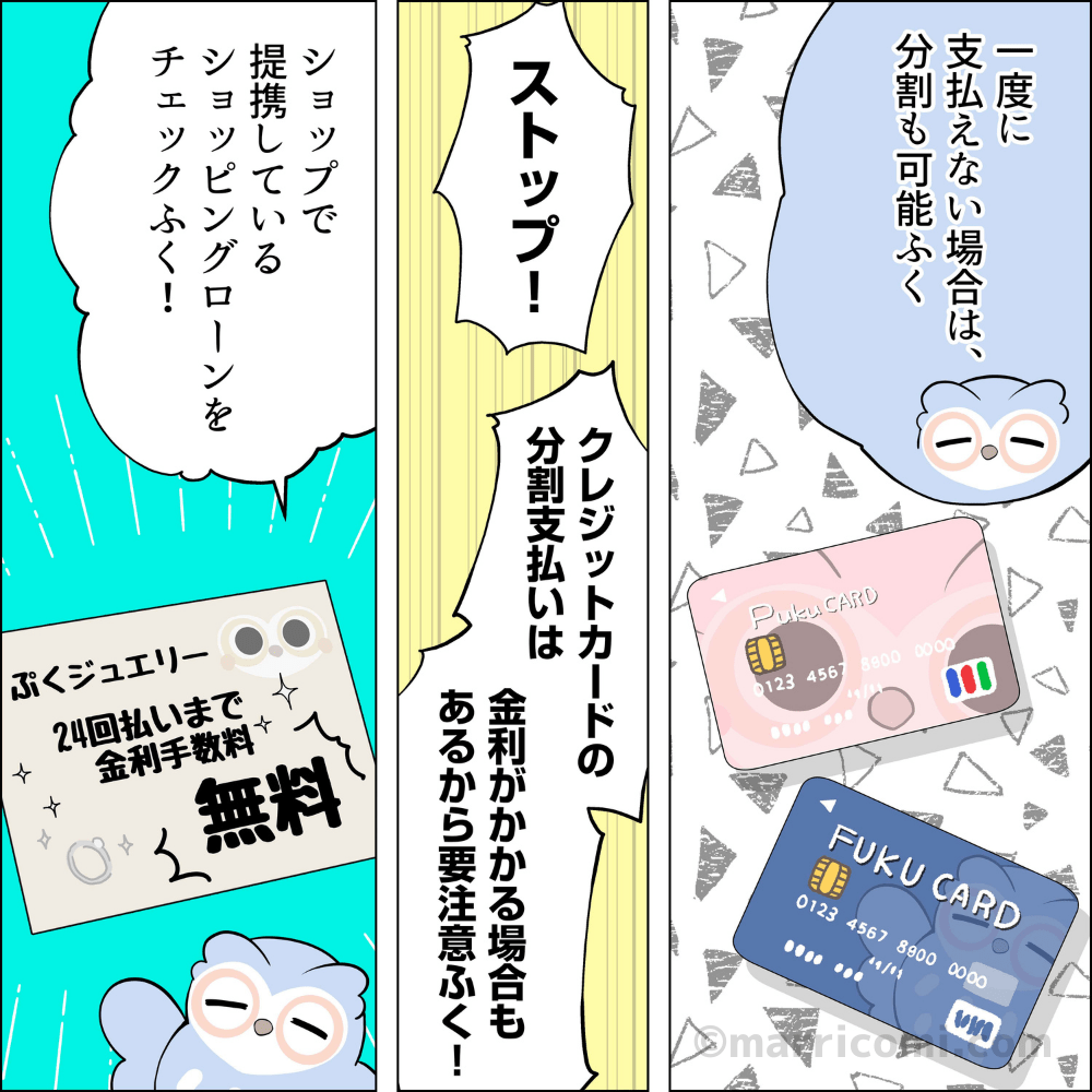 一度に支払えない場合は分割も可能ふく。ただい!クレジットカードの分割払いは金利がかかる場合があるから要注意ふく。ショップで提携しているショッピングローンをチェックするふく!